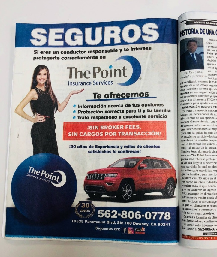 The Point Insurance Ad in El Aviso Magazine